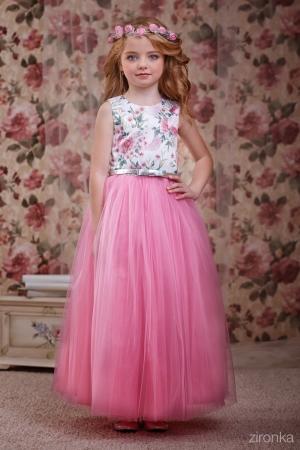 """Нарядное платье """"Люция"""" розового цвета. Очень нежное платье для маленьких модниц! Оригинальное и красивое платье для любого торжества! Вверх платья из полиэстера, подкладка из хлопка, юбка из нескольких слоев, что придает пышность."""