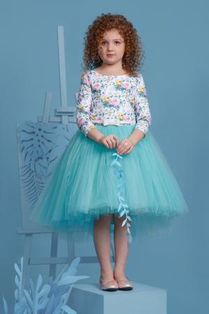 """Нарядное платье """"Милана"""" с пышной юбкой бирюзового цвета. Оригинальное и красивое платье для любого торжества! Вверх платья из полиэстера, подкладка из хлопка, юбка из нескольких слоев, что придает пышность, сзади небольшой шлейф."""