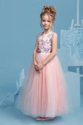 """Нарядное платье """"Триана"""" с пышной юбкой персикового цвета."""