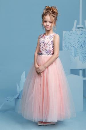 """Новинки сезона! Нарядное платье """"Триана"""" с пышной юбкой персикового цвета. Очень нежное платье для маленьких модниц! Оригинальное и красивое платье для любого торжества! Вверх платья с принтом """"цветы"""" из полиэстера, подкладка из хлопка, юбка из нескольких слоев, что придает пышность."""