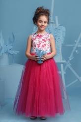 """Нарядное платье """"Триана"""" с пышной юбкой малинового цвета."""