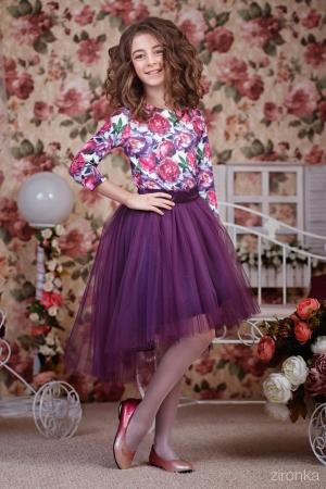 """Нарядный комплект """"Амелия"""" темно фиолетового цвета.Нарядный комплект с оригинальным рисунком и с пышной юбкой. Оригинальный принт, придает яркость и красоту. Оригинальный и красивый комплект для любого торжества! Вверх из полиэстера, подкладка из хлопка, юбка из нескольких слоев, что придает пышность. Оригинальный крой юбки, придает шарм наряду."""
