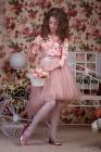 """Нарядный комплект персиково-розового цвета """"Амелия"""" с пышной юбкой ."""