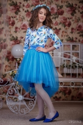 """Нарядный комплект """"Амелия"""" с ярко-голубой юбкой."""