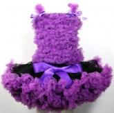 Комплект с пышной юбочкой Pettiskirt черно-фиолетового цвета и топом с рюшами фиолетового цвета.