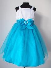 """Нарядное платье """"Василиса"""" бело-голубого цвета с бантом на поясе."""