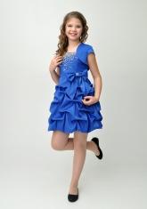 """Нарядное платье """"Мариэтта"""" цвета электрик с болеро."""