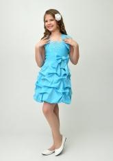 """Нарядное платье """"Мариэтта"""" голубого цвета с болеро."""