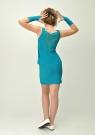 """Элегантное платье с перчатками """"Николетта"""" цвета морской волны."""