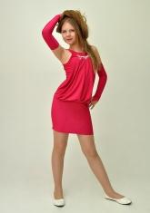 """Элегантное платье """"Николетта"""" малинового цвета с перчатками."""