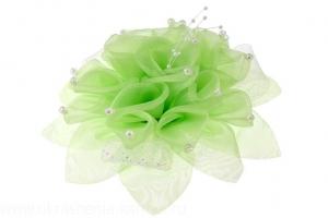 Красивый бант салатового цвета на резинке.Красивый аксессуар для волос.Диаметр цветка 14 см.