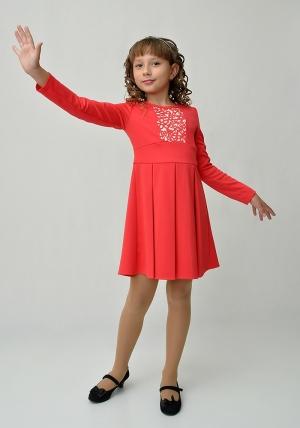 """Трикотажное платье с длинным рукавом """"Галина"""" кораллового цвета.Элегантное платье для настоящих модниц. Вверх платье оригинально украшено. Платье идеально для любых случаев и торжеств."""