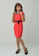 """Трикотажное платье с красивым воротником """"Юнона"""" кораллового цвета."""
