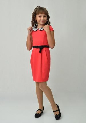 """Трикотажное платье с красивым воротником """"Юнона"""" кораллового цвета.Элегантное платье для настоящих модниц. Воротник оригинально украшен стразами. Платье идеально для любых случаев и торжеств."""