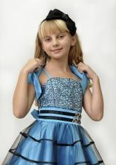 """Нарядное платье для девочек """"Беатриса"""" голубо-черного цвета с болеро."""