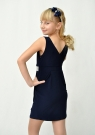 """Элегантное платье """"Ольга"""" темно-синего цвета."""