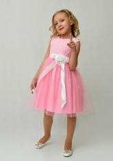 """Нарядное платье для малышек """"Розочки"""" розового цвета."""