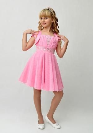 """Нарядное платье """"Юлия"""" розового цвета с болеро.Красивое платье со стразами и пышной многослойной юбкой. Красивое платье для настоящих модниц. Платье на молнии и шнуровкой, что хорошо для регулировки объема. Длина платья до колена. Данный наряд идеален для любых торжеств и праздников."""