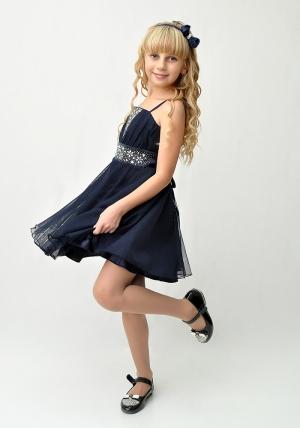 """Нарядное платье """"Юлия"""" темно-синего цвета с болеро.Изысканное платье со стразами и пышной многослойной юбкой. Красивое платье для настоящих модниц. Платье на молнии и шнуровкой, что хорошо для регулировки объема. Длина платья до колена. Данный наряд идеален для любых торжеств и праздников."""