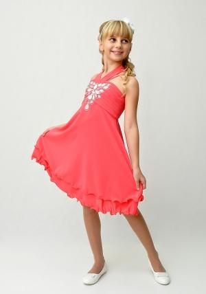 """Нарядное платье с болеро """"Валерия"""" кораллового цвета.Яркое и красивое платье для девочек со стразами на корсете. Платье на молнии и шнуровкой, что хорошо для регулировки объема. Платье идеально для любых торжеств и праздников. Впереди Новый год, успейте купить красивое платье для девочки!"""