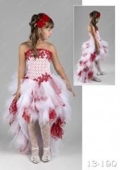 """Нарядное платье """"Берта"""" со шлейфом бело-красное."""