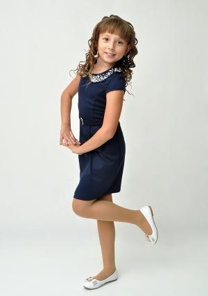 """Остался один размер, успей купить! Трикотажное платье с красивым воротником """"Юнона"""" темно-синего цвета.Элегантное платье для настоящих модниц. Воротник оригинально украшен стразами. Платье идеально для любых случаев и торжеств. Ваша девочка будет самой обворожительной в этом платье. Школьное платье темно-синего цвета для девочки."""