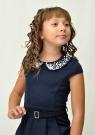 """Трикотажное платье с красивым воротником """"Юнона"""" темно-синего цвета."""