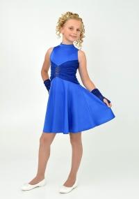 """Нарядное платье с перчатками """"Ангелина"""" цвета электрик."""