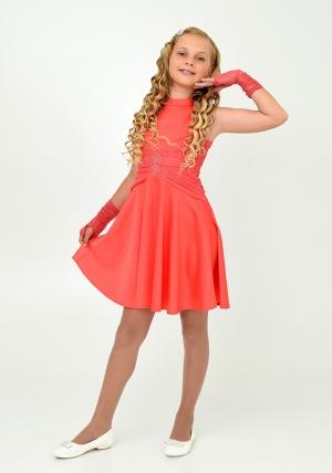 """Нарядное платье с перчатками """"Ангелина"""" кораллового цвета.Элегантное платье для настоящих модниц. Данный наряд идеален для любых торжеств и праздников."""