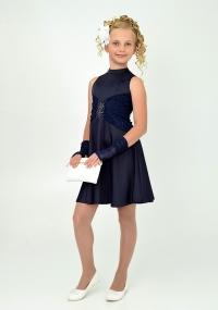 """Нарядное платье с перчатками """"Ангелина"""" темно-синего цвета."""