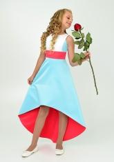 """Элегантное платье """"Симона"""" голубо-алого цвета."""