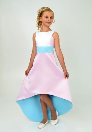 """Элегантное платье """"Симона"""" голубо-розового цвета. Красивоеплатье для настоящих модниц. Данное платье застегивается на молнию."""