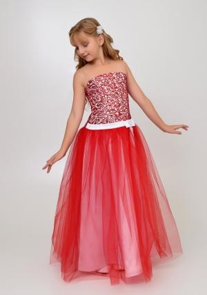 """Нарядное платье """"Констанция"""" бело-красного цвета.Элегантное и оченьстильное платье для настоящих модниц. Оригинальный корсет с паетками и длинной юбкой из атласа, сверху фатин."""