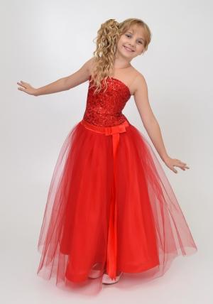 """Нарядное платье """"Констанция"""" красного цвета. Элегантное и оченьстильное платье для настоящих модниц. Оригинальный корсет с паетками и длинной юбкой из атласа, сверху фатин."""