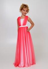 """Элегантное платье """"Вилена"""" бело-кораллового цвета."""