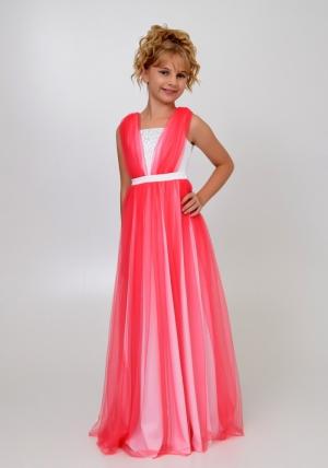 """Элегантное платье """"Вилена"""" бело-кораллового цвета.Красивое платье для настоящих модниц. Платье как у мамы! Атласное платье белого цвета, сверху шифон, платье украшено жемчугом спереди и сзади."""