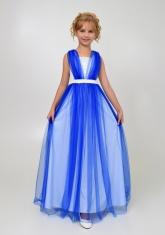 """Элегантное платье """"Вилена"""" бело-синего цвета."""