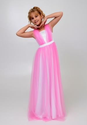 """Элегантное платье """"Вилена"""" бело-розового цвета.Красивое и нежное платье для настоящих модниц. Платье как у мамы! Атласное платье белого цвета, сверху шифон, платье украшено жемчугом спереди и сзади."""