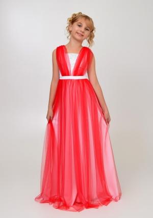 """Элегантное платье """"Вилена"""" бело-красного цвета.Красивое платье для настоящих модниц. Платье как у мамы! Атласное платье белого цвета, сверху шифон, платье украшено жемчугом спереди и сзади."""
