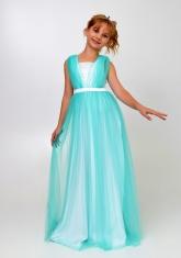 """Элегантное платье """"Вилена"""" цвета ментол."""