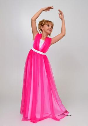 """Элегантное платье """"Вилена"""" бело-малинового цвета.Красивое платье для настоящих модниц. Платье как у мамы! Атласное платье белого цвета, сверху шифон, платье украшено жемчугом спереди и сзади."""