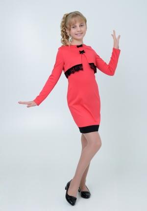 """Трикотажное платье с болеро """"Елизавета"""" кораллового цвета. Элегантное платье для настоящих модниц. Платье идеально для любых случаев и торжеств."""