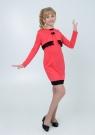 """Трикотажное платье с болеро """"Елизавета"""" кораллового цвета."""
