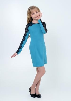 """Нарядное трикотажное платье """"Веста"""" бирюзового цвета.Элегантное платье для настоящих модниц с ажурной вставкой на рукавах. Платье идеально для любых случаев и торжеств."""