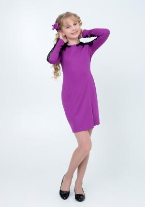 """Нарядное трикотажное платье """"Веста"""" цвета фуксии. Элегантное платье для настоящих модниц с ажурной вставкой на рукавах. Платье идеально для любых случаев и торжеств."""