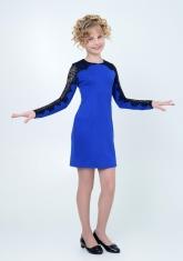 """Нарядное трикотажное платье """"Веста"""" цвета электрик."""