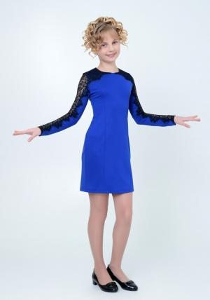 """Нарядное трикотажное платье """"Веста"""" цвета электрик. Элегантное платье для настоящих модниц с ажурной вставкой на рукавах. Платье идеально для любых случаев и торжеств."""