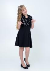 """Трикотажное нарядное платье """"Вера"""" черного цвета."""