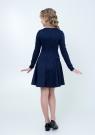 """Нарядное трикотажное платье """"Мона"""" темно-синего цвета с кружевом."""