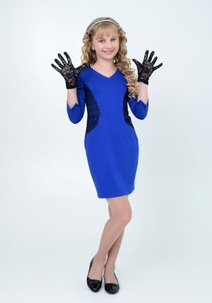 """Нарядное платье """"Сьюзан"""" цвета электрик. Элегантное платье для настоящих модниц с ажурной вставкой. Платье идеально для любых случаев и торжеств. Перчатки продаются отдельно."""